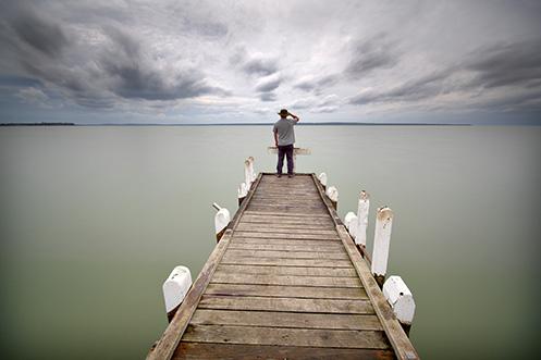 Grantville Jetty - Jim Worrall - self portrait - Westernport Bay