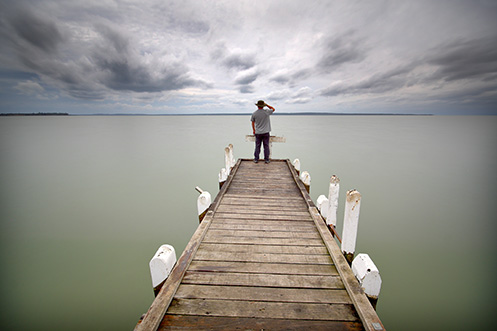 Grantville Jetty - Jim Worrall - self portrait - Westernport Bay