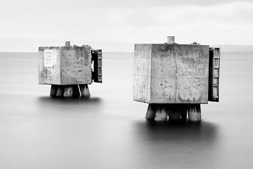 The Sorrento Bollards - Jim Worrall - Australia - seascape - black and white
