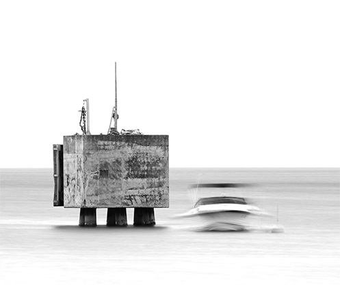 Bollard - Sorrento - Jim Worrall - seascape - Australia - black and white
