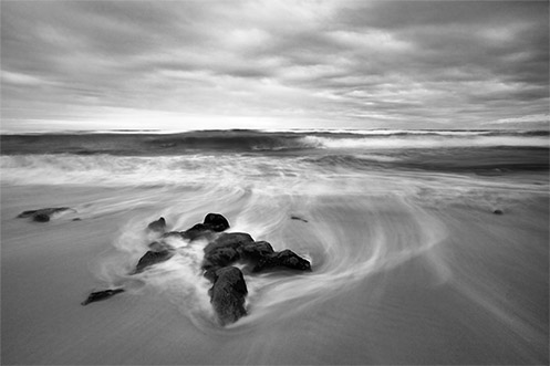 Cyclical Rendezvous - Rye beach - black and white - Jim Worrall - ND400 - long exposure - ocean - waves