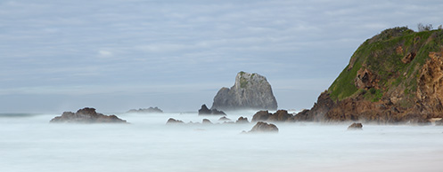Narooma beach - Glasshouse rocks - Jim Worrall - seascape - misty - ocean