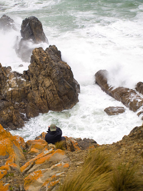 Jim Worrall on cliff at Cape Liptrap