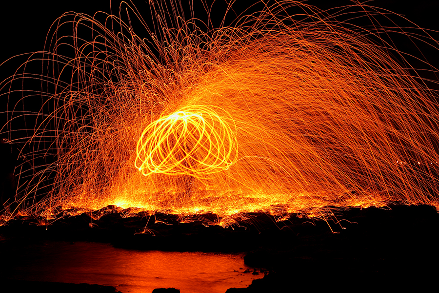Playing with fire, steel wool
