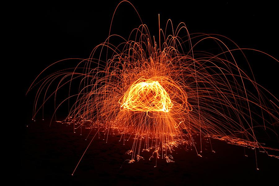 Flaming steel wool - Jim Worrall