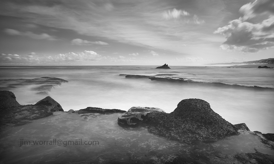 Jim Worrall, seascape, long exposure, black and white