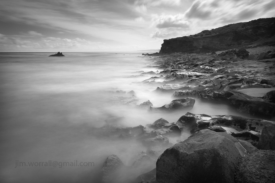 Jim Worrall, long exposure, seascape, black and white