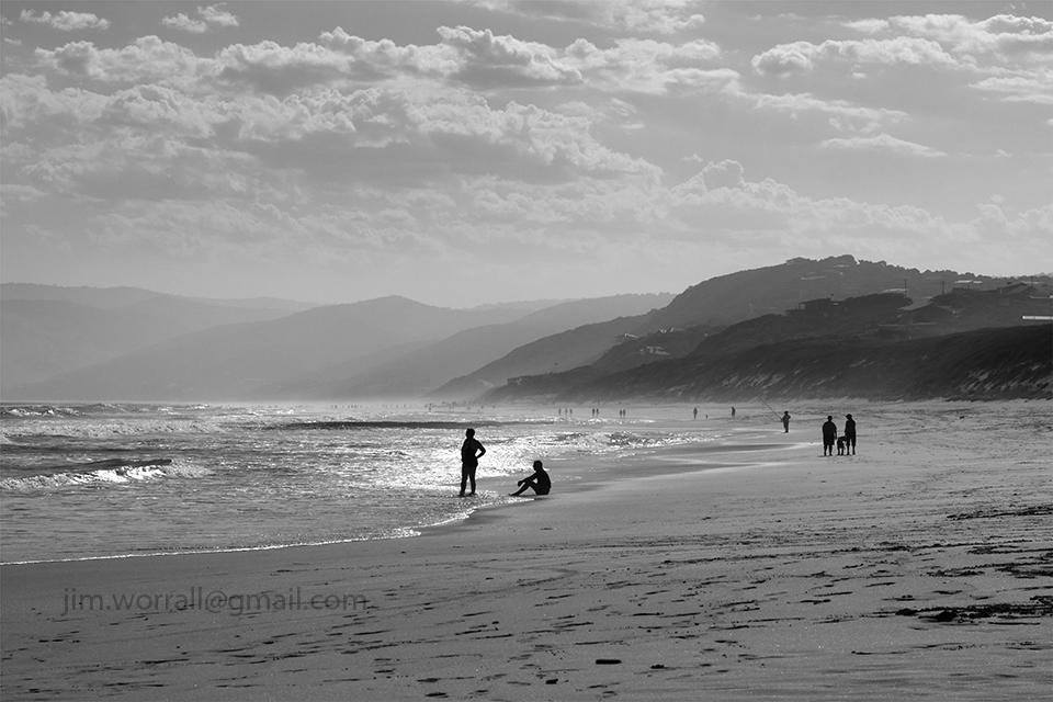 Split Point beach, black and white, seascape, Australia