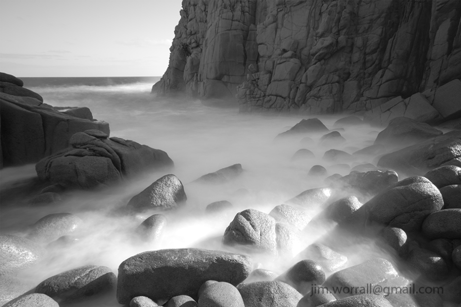 Phillip Island, long exposure, Jim Worrall, black and white