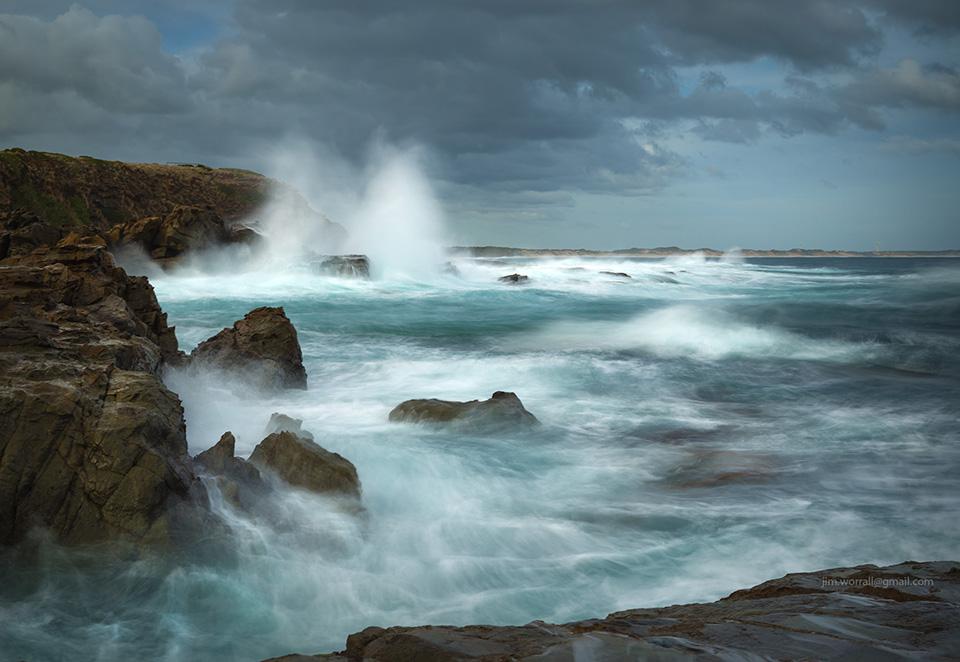 Jim Worrall, beach, wave splashing, rocks, ocean, Kilcunda, long exposure
