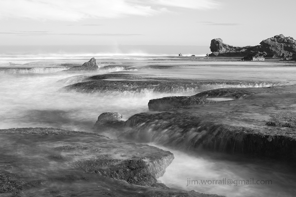Jim Worrall, Mornington Peninsula, seascape, black and white, long exposure