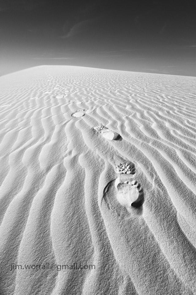 Jim Worrall footprints sand dunes desert bootprints
