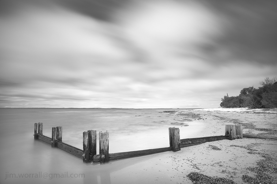 Jim Worrall, groyne, Western Port Bay, long exposure, black and white