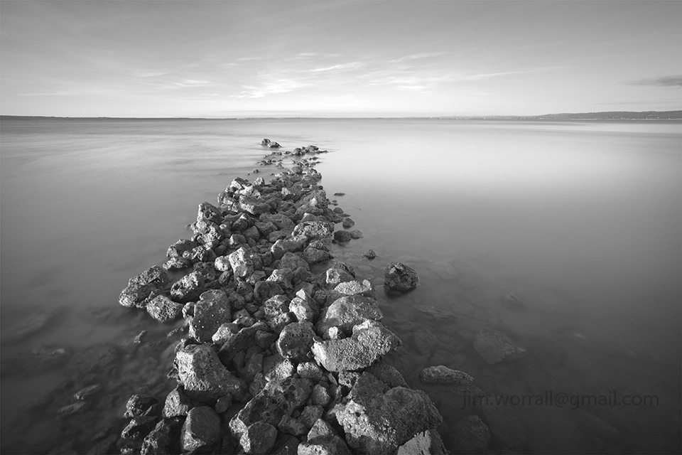 Jim Worrall, Tenby Point, Western Port Bay, long exposure, seascape, ND400, black and white