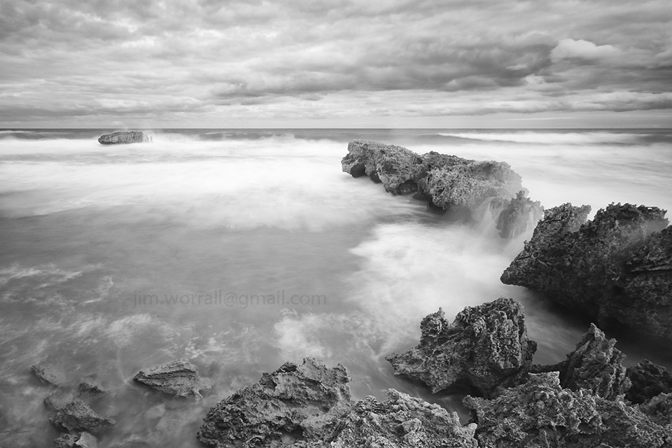 Jim Worrall, Jubilee Point, Sorrento, Mornington Peninsula, long exposure, seascape, ND400, ND filter, black and white