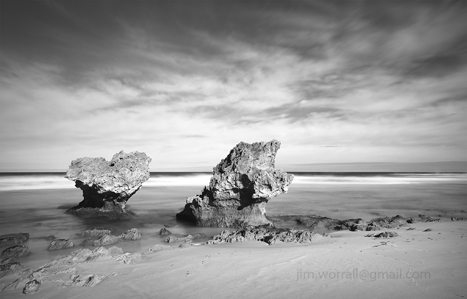 Jim Worrall, Montforts beach, Blairgowrie, Mornington Peninsula, long exposure, black and white