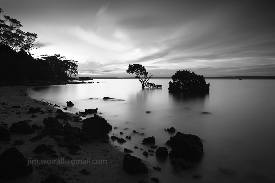 Tenby Point, Western Port Bay, mangrove, Jim Worrall, beach, sunset, black and white, nd filter