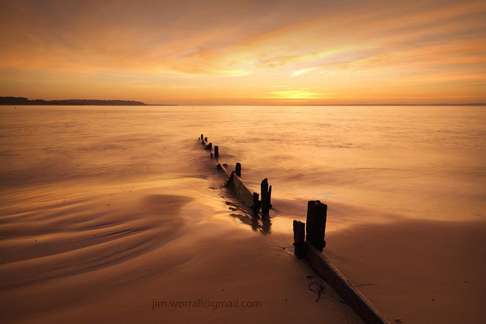 Balnarring Beach, Jim Worrall, Western Port Bay, groyne, sunrise