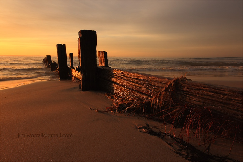Balnarring Beach, Jim Worrall, groyne, sunrise, Western Port Bay, Mornington Peninsula