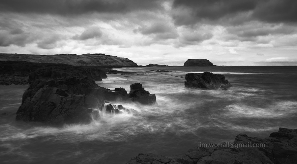 Cowrie beach, Phillip Island, The Nobbies, Jim Worrall, Australia, seascape, black and white