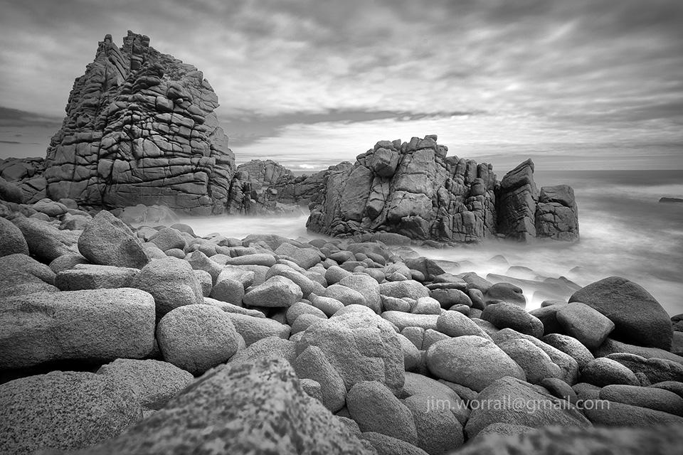 The Pinnacles, Jim Worrall, Cape Woolamai, Phillip Island, long exposure, black and white, seascape