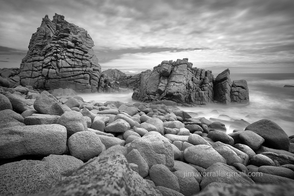 The Pinnacles, Jim Worrall, Cape Woolamai, Phillip Island, long exposure, black and white, seascape