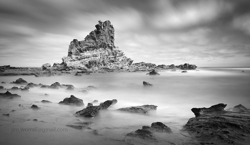 eagles nest, Jim Worrall, Inverloch, Cape Paterson, Bass Coast, long exposure, black and white, seascape