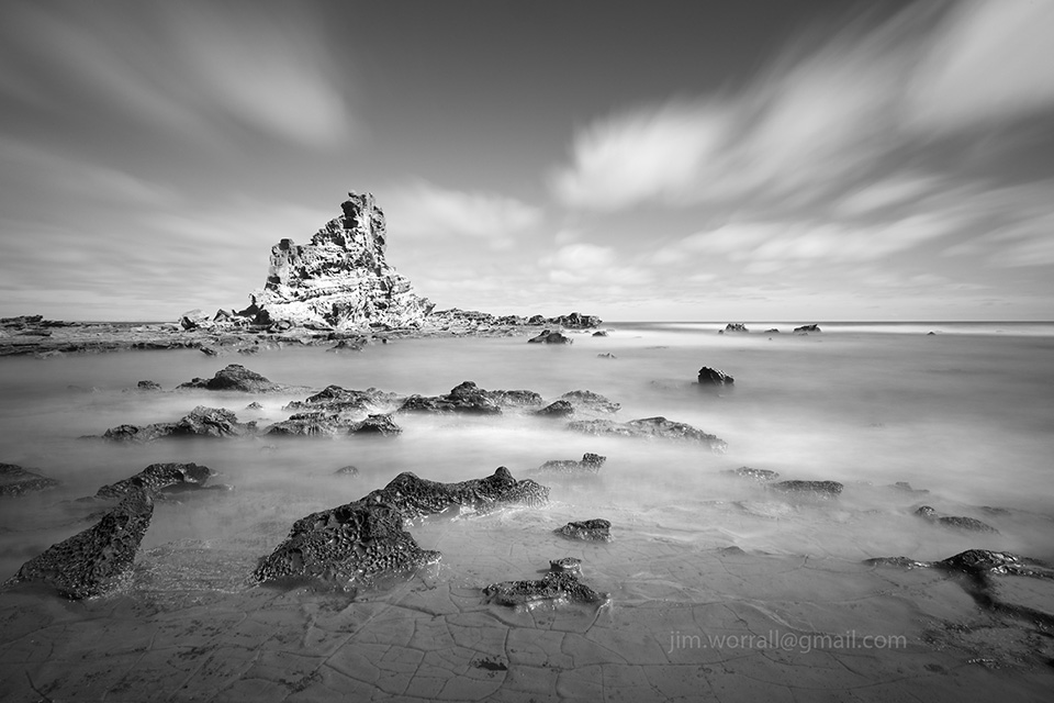 eagles nest, jim worrall, bass coast, inverloch, cape paterson, long exposure, black and white, seascape