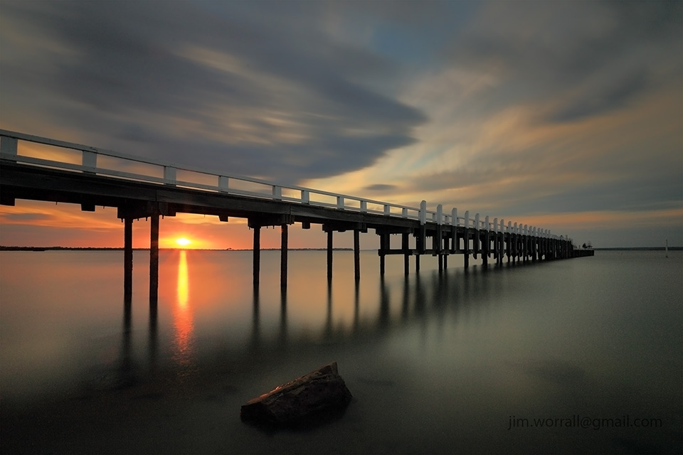 Grantville, jetty, beach, sunset, Jim Worrall, sunset, long exposure, Western Port Bay