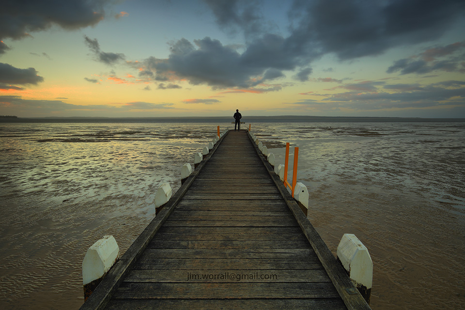 Jim Worrall, Grantville jetty, Western Port Bay, sunset, beach, low tide