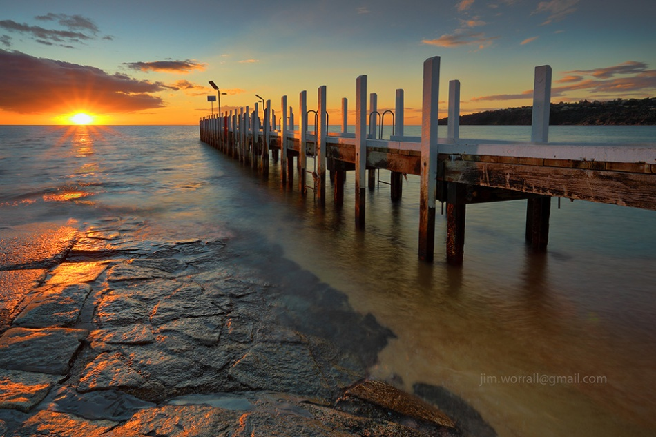 safety beach, sunset, jim worrall, mornington peninsula, jetty, port phillip bay, long exposure, nd filter