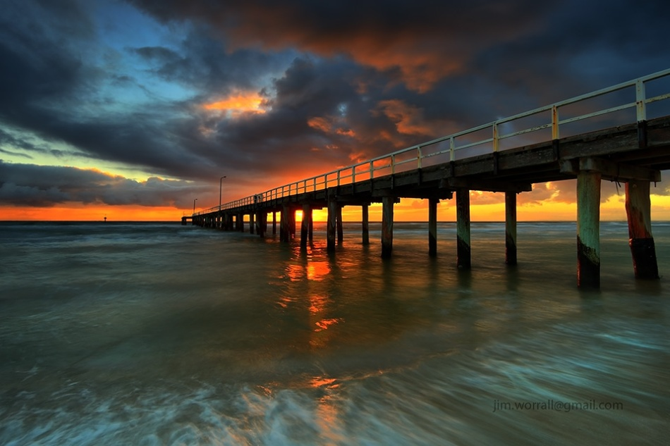 Jim Worrall, Seaford, pier, jetty, sunset, Port Phillip Bay, beach, long exposure, hdr