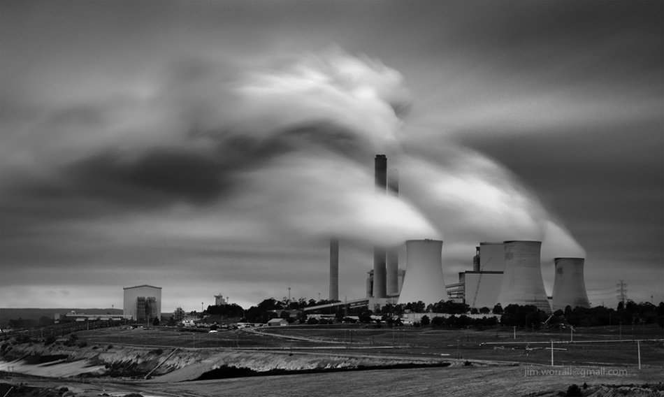 Latrobe Valley, Gippsland, Jim Worrall, long exposure, black and white, power station