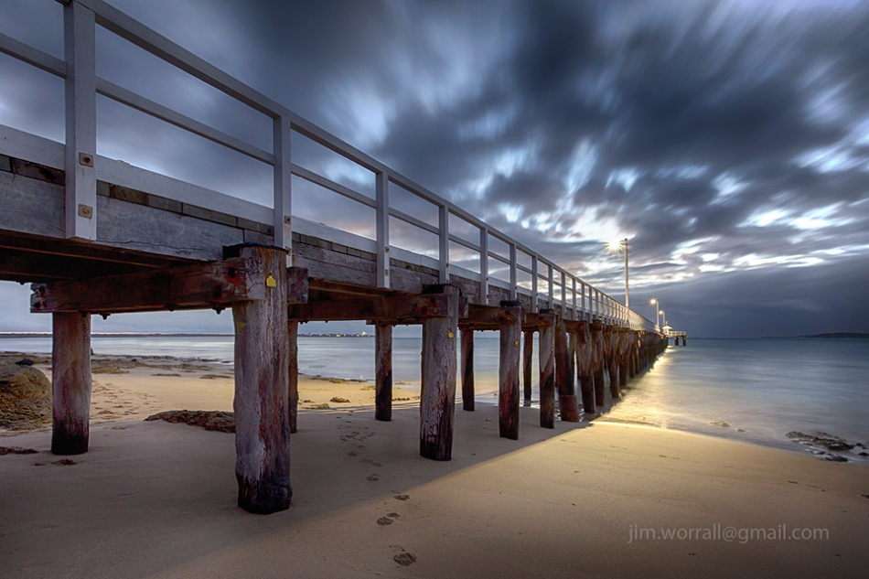 Jim Worrall, jetty, beach, long exposure, Bellarine Peninsula, dawn, sunrise