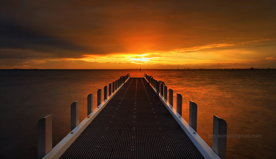 Jim Worrall, North Road, jetty, pier, beach, boat ramp, sunset