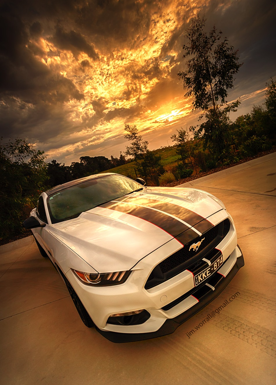 jim worrall, ford mustang, stang, car, sunset