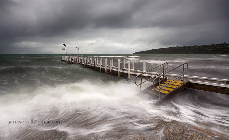 Jim Worrall, mornington peninsula, port phillip bay, storm, jetty, beach