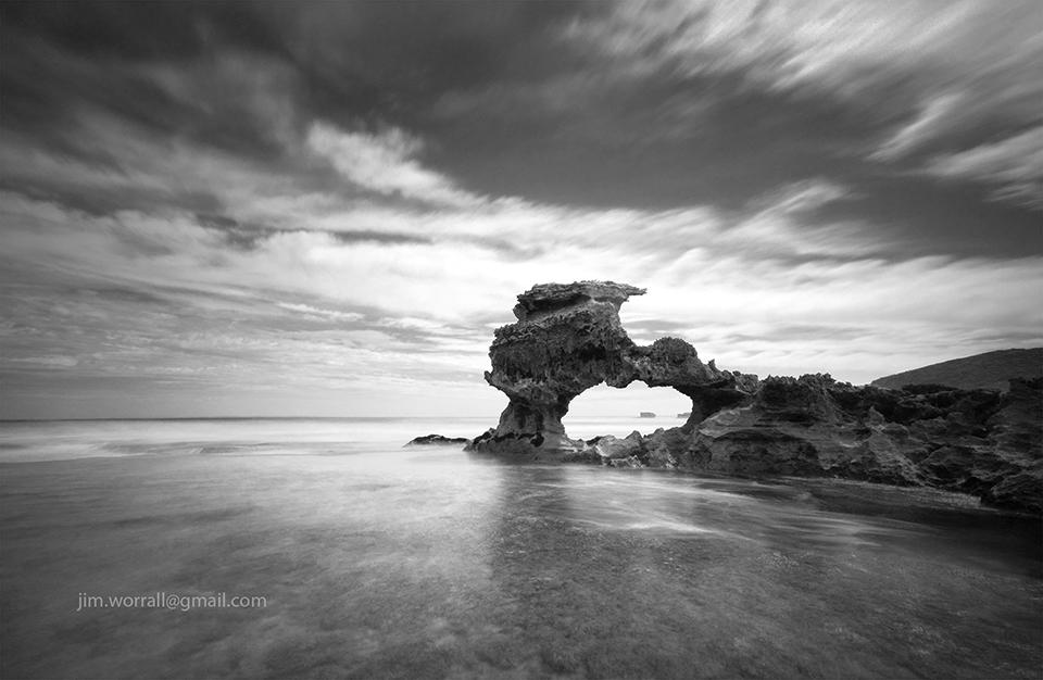 jim worrall, portsea back beach, mornington peninsula, long exposure, seascape, black and white