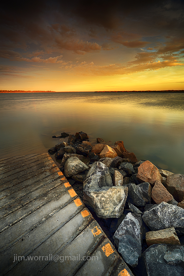 jim worrall, Blind Bight foreshore, western port bay, sunset, seascape, boat ramp