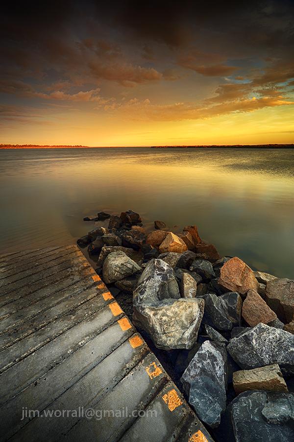 jim worrall, Blind Bight foreshore, western port bay, sunset, seascape, boat ramp