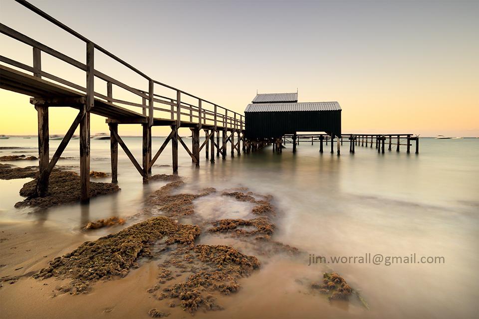 mornington peninsula, shelley beach, jetty, pier, jim worrall, sunset seascape
