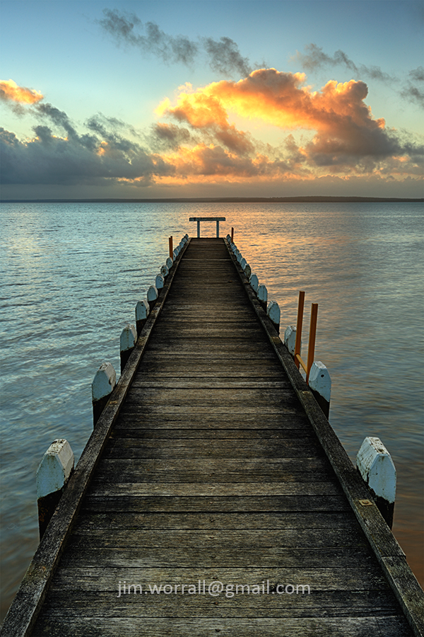 Jim Worrall, Grantville, jetty, pier, sunset, beach, Western Port Bay,