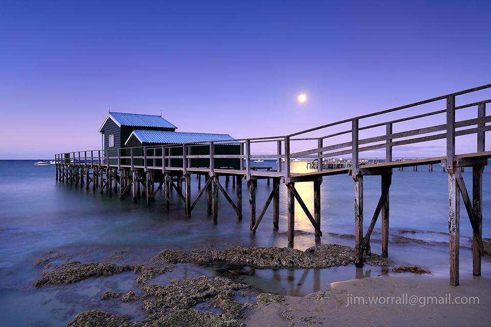 pier, jetty, Jim Worrall, Mornington Peninsula, beach, moon, night