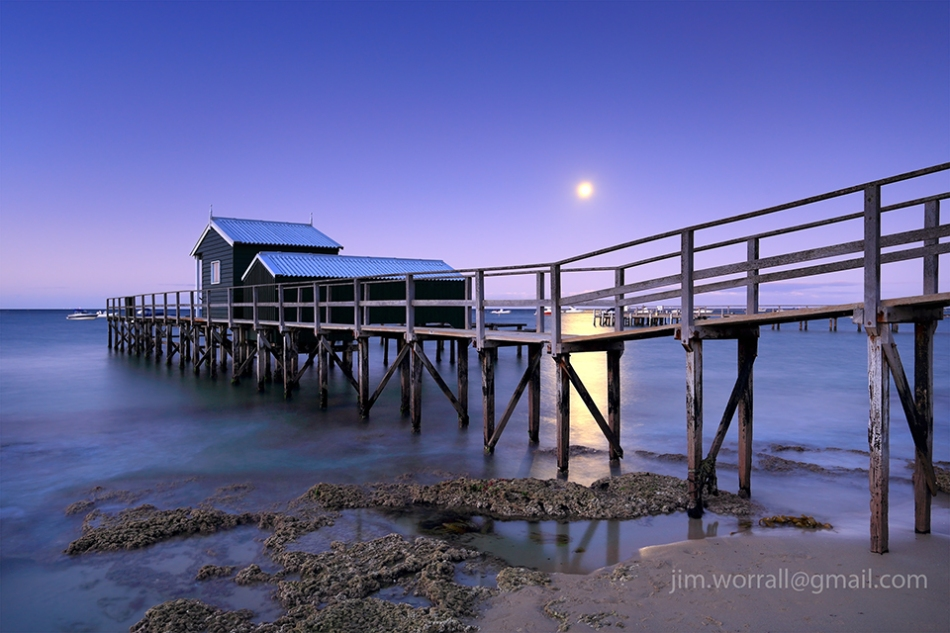 pier, jetty, Jim Worrall, Mornington Peninsula, beach, moon, night