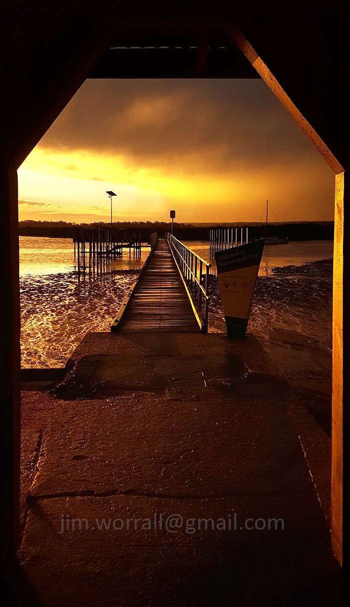 jim worrall, warneet north, jetty, sunset, doorway